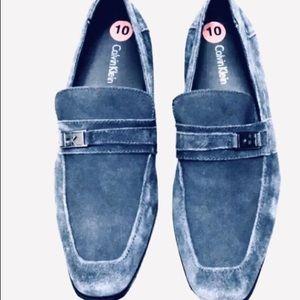 Calvin Klein Blue Navy Suede Loafers 10